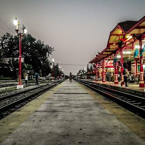 Hua Hin Train Station Bangkok by Eddy Tan - Buildings & Architecture Public & Historical ( huahin, bangkok, station, train, night )