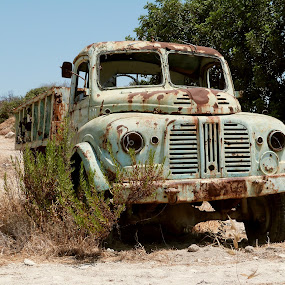 abandoned truck by Florence Guichard - Transportation Other ( le passé dans l'objectif, water, old, truck, green, device, transportation, rust, cyprus, abandoned, decay )