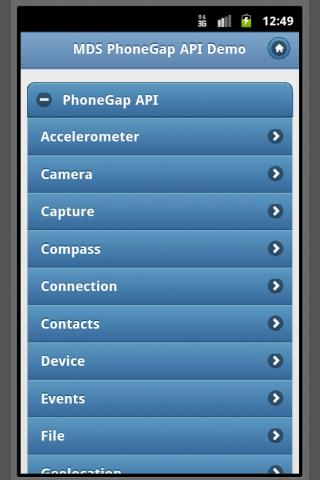 PhoneGap API w/ jQuery Mobile- screenshot