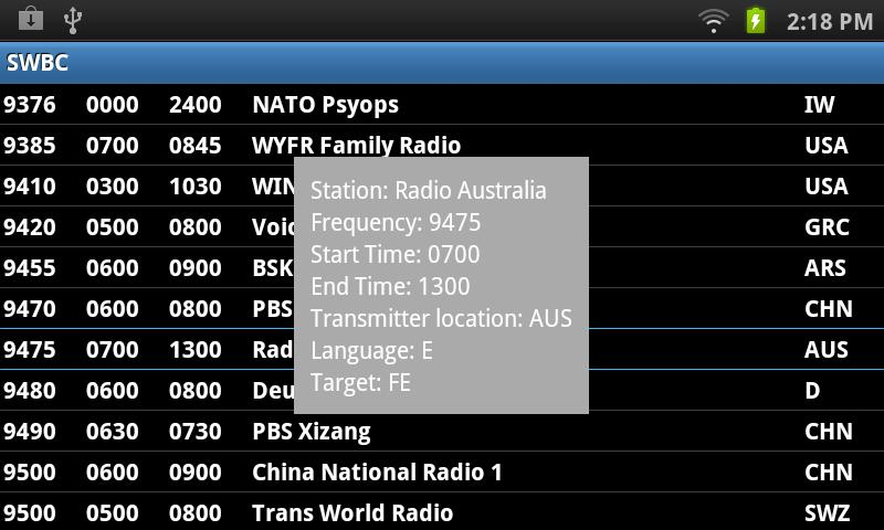 Shortwave Broadcast Schedules- screenshot
