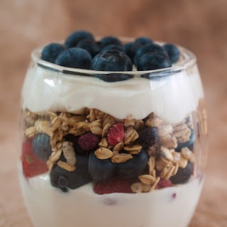 Yogurt, Fresh Fruit, and Granola Parfait.