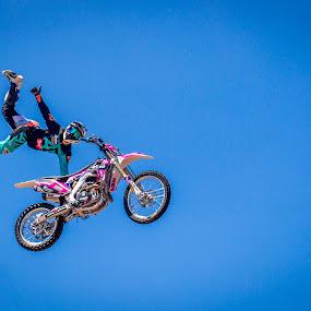 Thumbs up! by Amro Labib - Sports & Fitness Other Sports ( natural light, motorbike, sports, sport, show, fun, risky, thrill, sky, motocross, fly, australia, motorcycle, high, daylight, sydney )