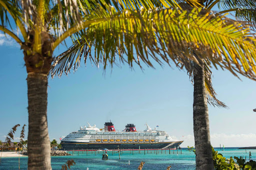 Disney-Magic-in-Caribbean - Disney Magic moored in a Caribbean port of call.