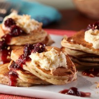 Cinnamon Mascarpone Pancakes with Warm Morello Cherries and Hazelnuts