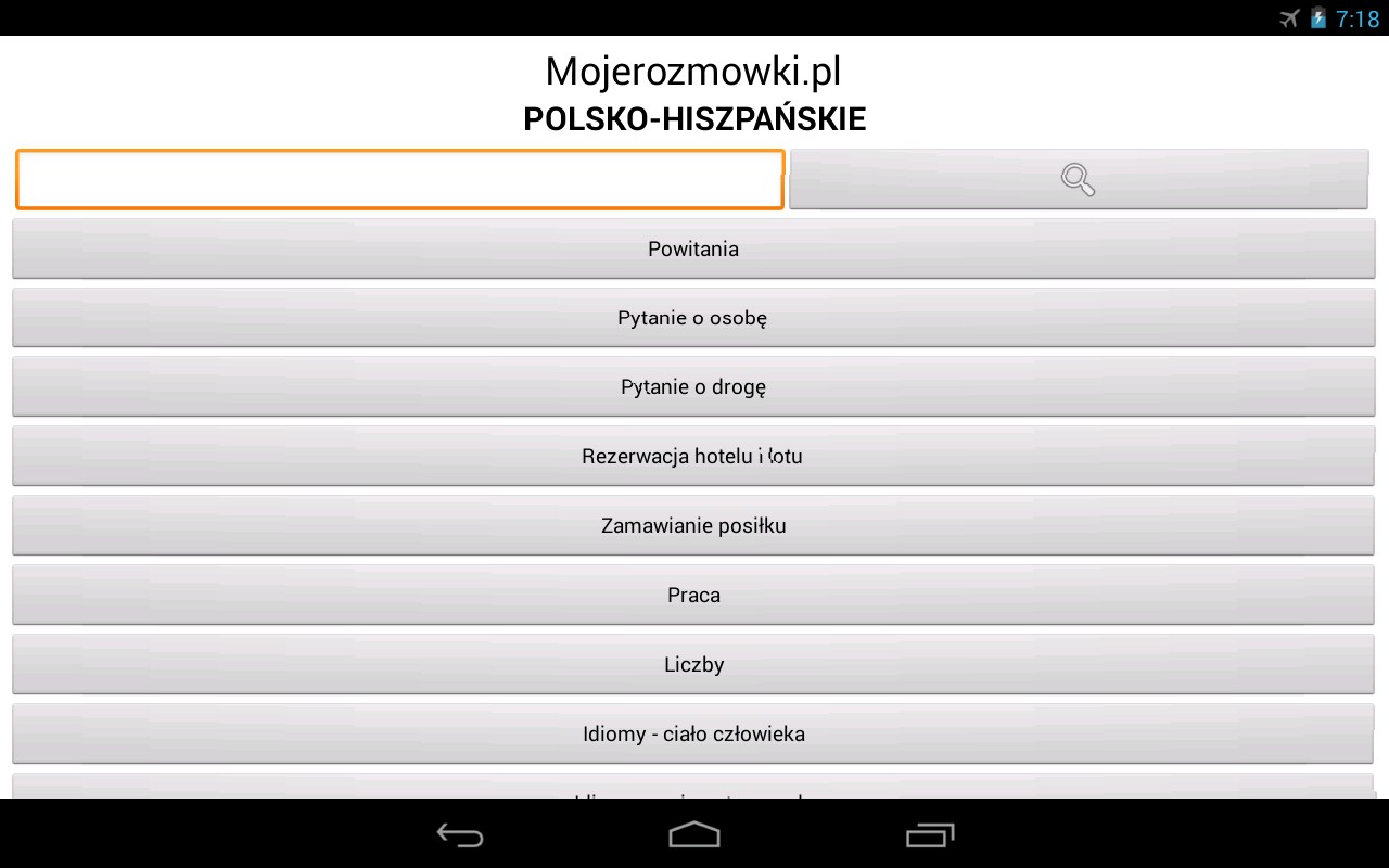Rozmówki Polsko-Hiszpańskie - screenshot