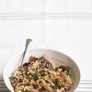 Eggplant Salad with Israeli Couscous and Basil.