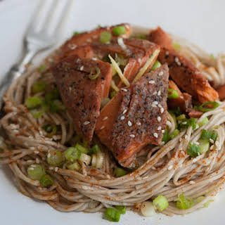 Buckwheat Soba Noodles & Ginger Sesame Dressing with Wild Sockeye Salmon.