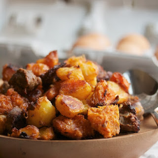 Baked Sweet Potato & Andouille Hash Browns.