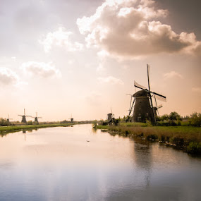Kinderdjik Windmills by Mike Moss - Landscapes Waterscapes ( unesco world heritage site, holland, travel, windmills, landscape, waterscapes,  )