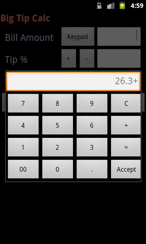 Big Tip Calc - Tip Calculator - screenshot
