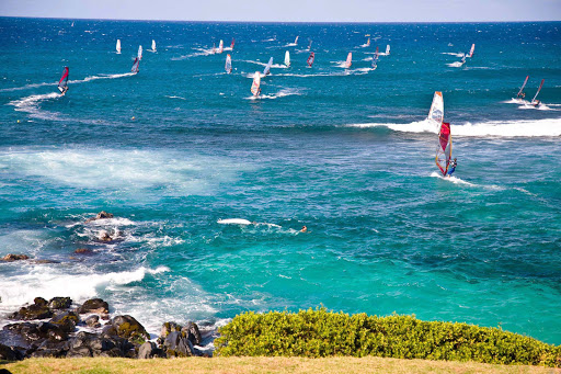 Hookipa-Beach-windsurfers - Windsurfers at Hookipa Beach in Lower Paia, Maui.