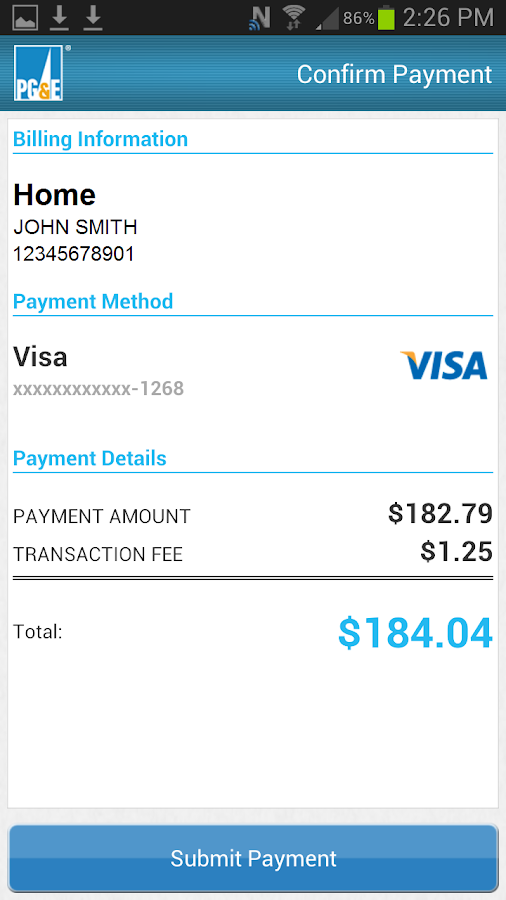 PG&E Mobile Bill Pay - screenshot