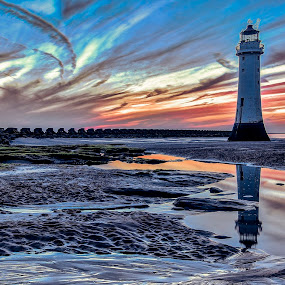 New Brighton Beach, mid tide, Wirral, UK by Ian Yates ヅ - Landscapes Waterscapes ( water, lighthouse, rock, wallasey, beach, rock pool, new brighton, sky, sunset, wirral, seaweed, roclpool, rocks,  )