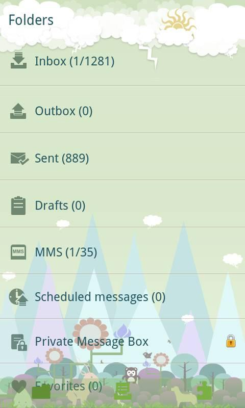 GO SMS Pro Forest Zoo themeEX - screenshot