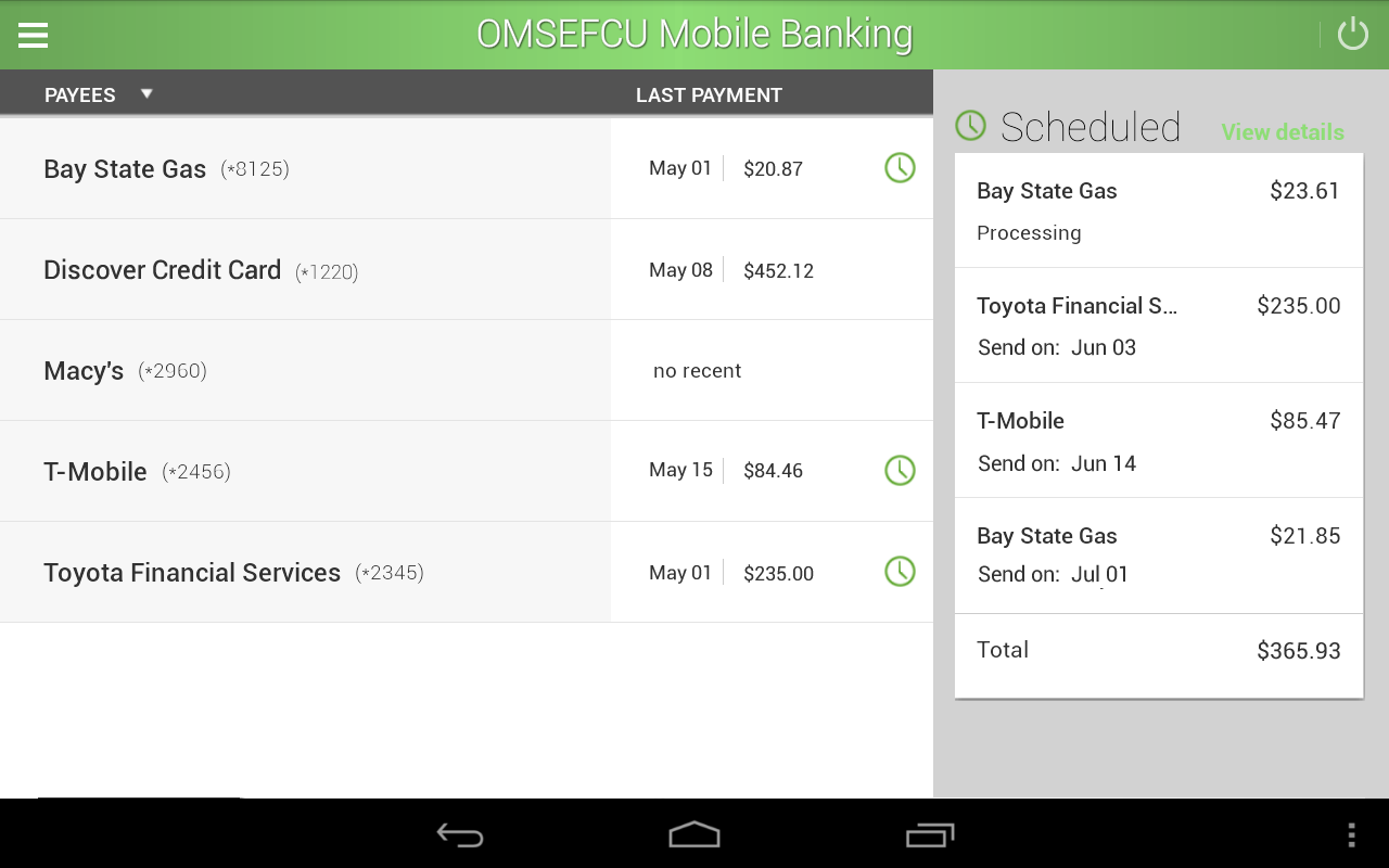 OMSEFCU Mobile Banking- screenshot