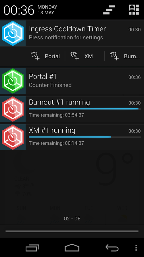 Ingress Cooldown Timer - screenshot