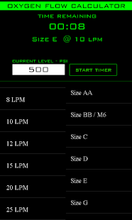 Oxygen Flow Calculator - screenshot thumbnail