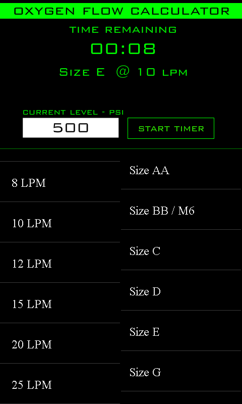 Oxygen Flow Calculator - screenshot