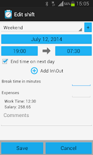 Shift Logger - Working hours - screenshot thumbnail