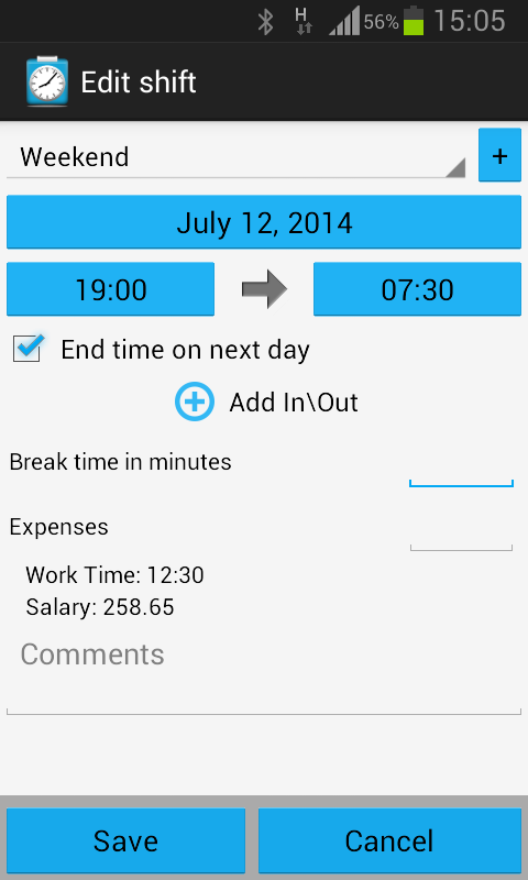 Shift Logger - Working hours - screenshot