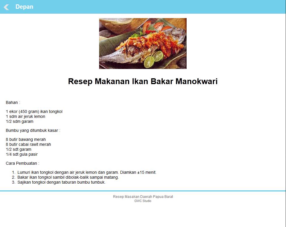 Resep Masakan Khas Papua Barat