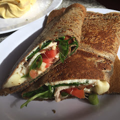 Savory turkey, spinach, green onion, tomato & Mozzarella gfree crepe