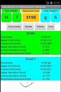 Tolerances calculator LITE - screenshot thumbnail
