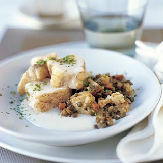 Roasted Monkfish with Curried Lentils and Browned Butter Cauliflower