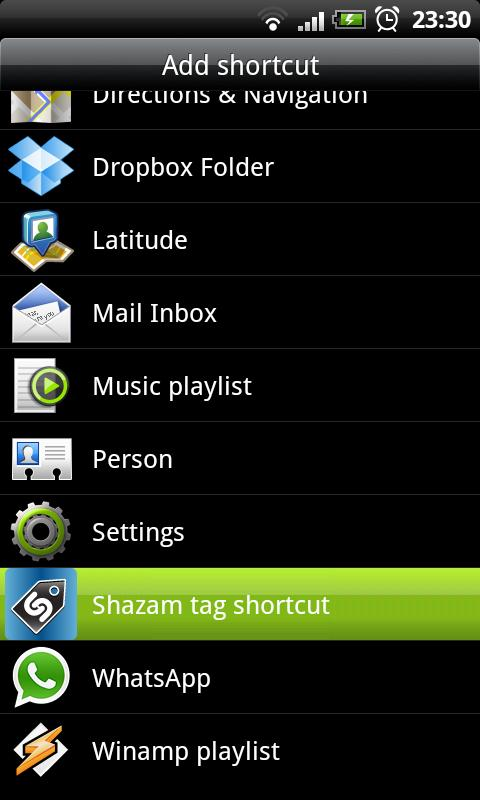 Shazam tag shortcut - screenshot
