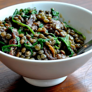 French Lentils with Sausage, Wilted Arugula, & Dijon Mustard