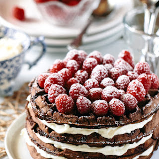 Dark Chocolate Waffle Cake with Mascarpone Whipped Cream.