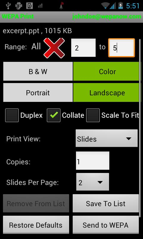 WEPA Print App - screenshot