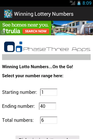 Winning Lottery Numbers- screenshot