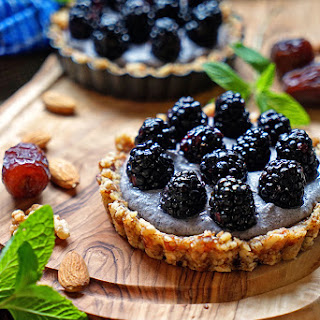 No Bake Blackberry Tarts with Blueberry Cashew Cream