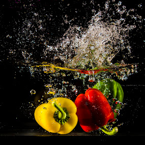 red, yellow, green peppers by Mona Martinsen - Food & Drink Fruits & Vegetables ( color, colors, food & beverage, food og drink, fruits and vegetables, filter forge, object, landscape, portrait, eat & drink, meal,  )