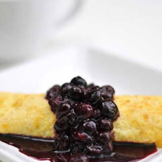 Gluten Free Ricotta Crepes with Blueberry Sauce.