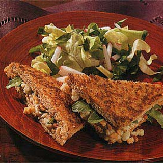 Grilled Blue Cheese Sandwiches with Walnuts and Watercress.