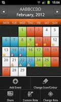 Screenshot of Shift Rota Calendar