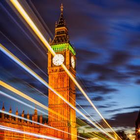 Big Ben, London by Tomas Vocelka - City,  Street & Park  Night ( bus, london, doubledecker, westminster bridge, light trails, night, big ben )