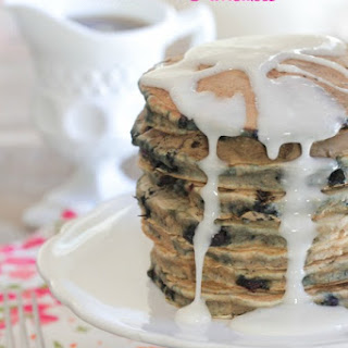 Iced Blueberry Crumble Pancakes