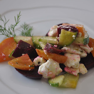 Beet, Cucumber, and Feta Salad with Dill Vinaigrette.