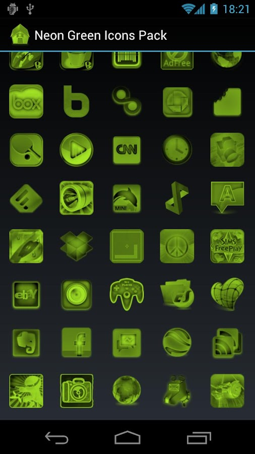 Neon Green Icons Pack - ADW GO - screenshot