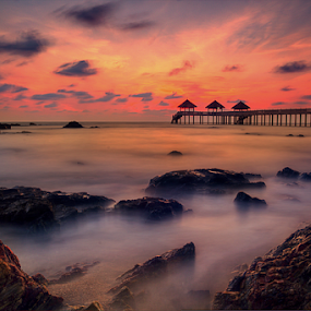 seascape at Tg Balau by Hafiz Hj Ismail - Landscapes Waterscapes ( water, sunset, sea, rock, sunrise, jetty, beach, slow shutter )