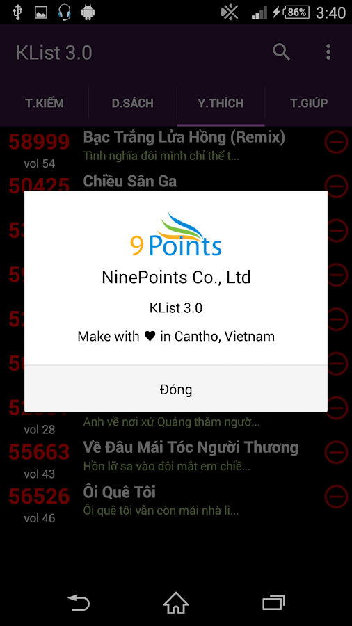 Karaoke List - screenshot