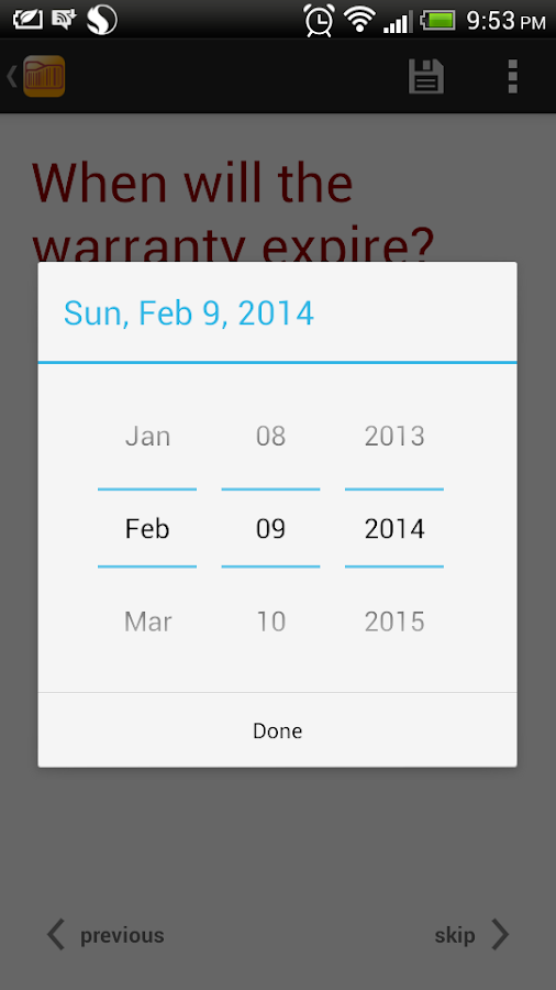 Warranty Tracker- screenshot