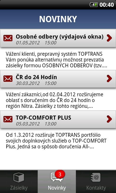 TOPTRANS SK – snímka obrazovky