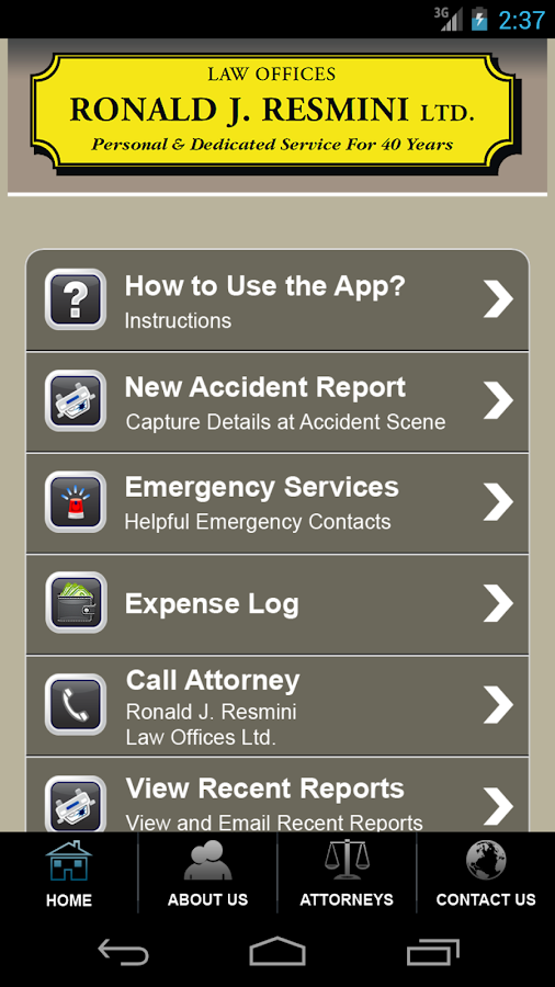 Accident App by Ronald Resmini- screenshot
