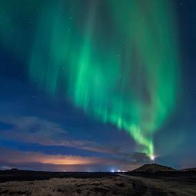 Lighthouse of Northern Lights  by Guðmundur Hjörtur - Landscapes Starscapes