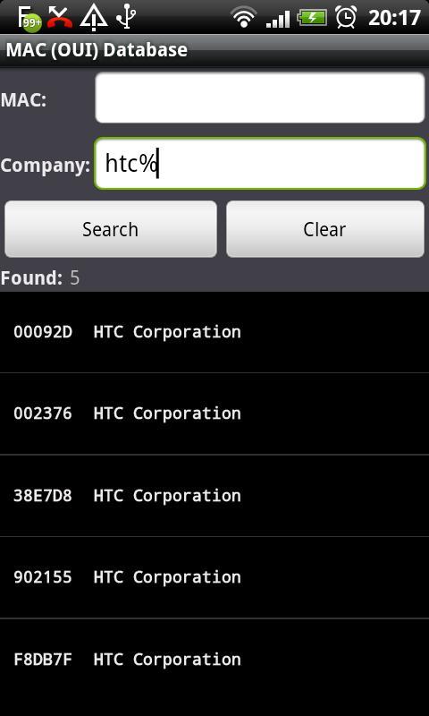 MAC (OUI) Database- screenshot