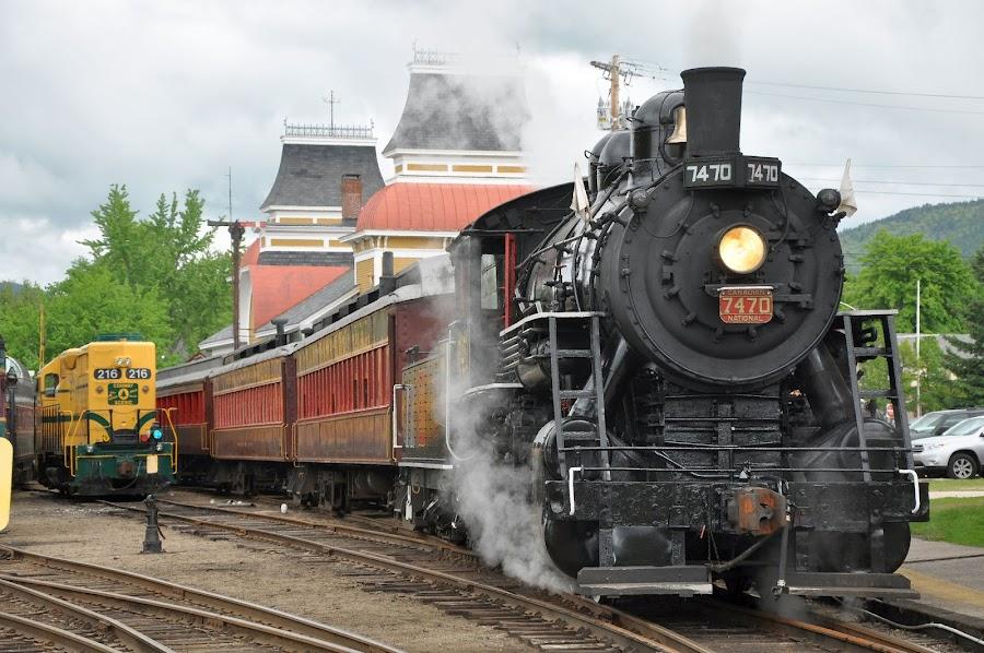 Getting ready by Janice Burnett - Transportation Trains ( steam locomotive, scenic excursion, steam train )